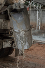 Washing a cement truck in construction site