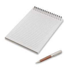 Empty notepad with pen isolated on white background