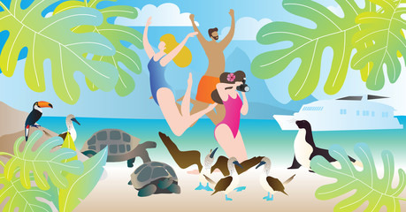 Galapagos islands tours vector illustration. Happy people enjoy vacation in ocean or sea beach with wildlife. Yacht or ship cruise to exotic turtles, birds and seal.
