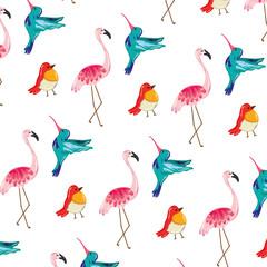 Tuinposter Flamingo tropical nice birds animals background