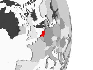 Netherlands on grey political globe