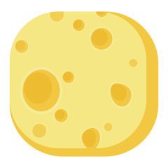 Delicious breakfast round corner square icon cheese