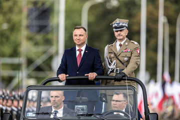 Poland's President Andrzej Duda attends the Polish National Army Day parade in Warsaw