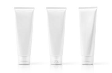white cosmetic plastic tube isolated on white background