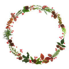 Natural winter and Christmas wreath garland with leaf sprigs, holly berries, pine cones, acorns and plants on white background. Traditional christmas greeting card for the festive season.