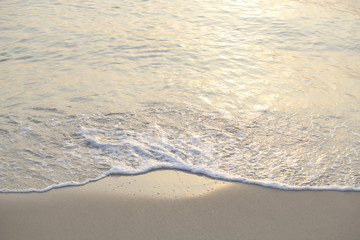 The sea with waves hit the sandy beach in the morning, with copy space text