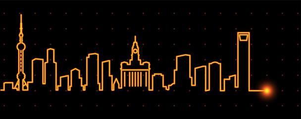 Shanghai Light Streak Skyline