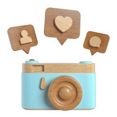 Vintage wooden Photo Camera with Pin like, friend, comments, shot, recording. Overhead view of Traveler's accessories, Flat lay photography of Travel concept. White isolated background. 3d render