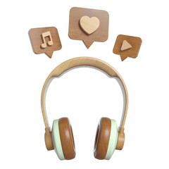 Vintage wooden Headphone with Pin like, sound, song, play, recording. Overhead view of Traveler's accessories, Flat lay photography of Travel concept. White isolated background. 3d render