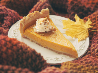 Piece of pumpkin cake with cream and nuts on plate on cosy knitted throw.