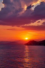 Summer sunset over the sea in Croatia