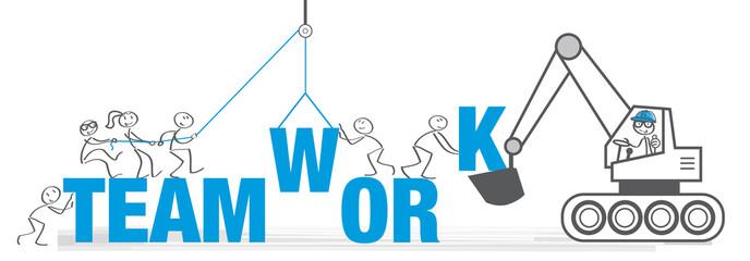 Banner Teamarbeit - Team setzt das Wort Teamwork zusammen