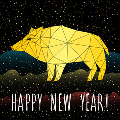 Happy new pig year card. Cute pig and abstract pattern for new year greeting card, party invitation, new year holiday sale advertising, winter vacation travel poster, bag prrint, t-shirt etc.