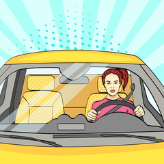 pop art background, sunlight blue. The woman at the wheel, the car. Vector