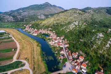 Aerial photo of a small village in Dalmatia, Croatia