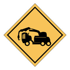 construction sign with crane truck icon over white background, vector illustration