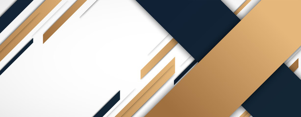 Abstract geometric with gold and black shapes on white background. Elegant style. Vector Illustration