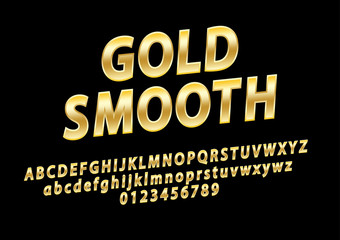Vector glossy sign Gold Smooth. Chic Golden rotated Alphabet Letters, Numbers and Symbols.