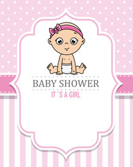 baby shower girl. baby sitting with a bow on her head. space for text