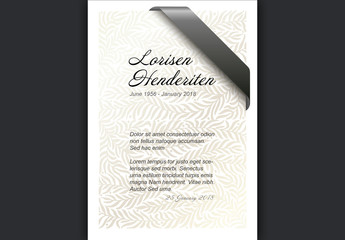 Funeral Card Layout with Ribbon