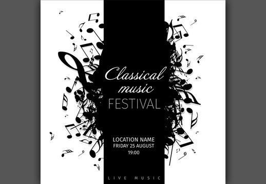 Concert Flyer Layout with Music Notes