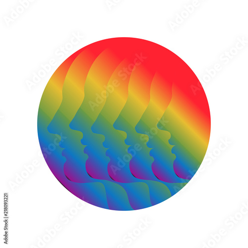 Six multicolored human profiles  Symbol of the unity in