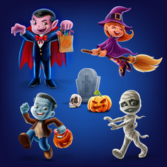 set icons for halloween with kids