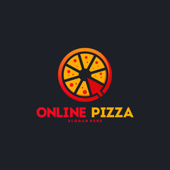 Online Pizza logo designs concept vector, Pizza delivery logo template vector