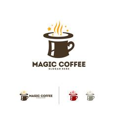 Magic coffee logo designs vector, Coffee with magic hat logo template