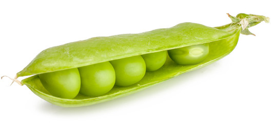 Green peas in the pod isolated on white