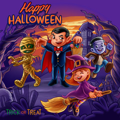 happy halloween cartoon illustration scene