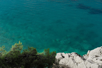 Top view on the rocks on beautiful Azure sea, Montenegro