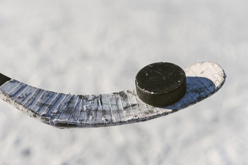 close-up of sticks and pucks in the stadium