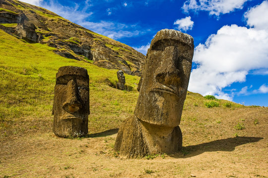 """Moai"" statues at Rapa Nui National Park ( Easter Island)"