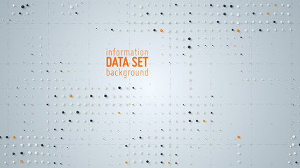 Wall Mural - Vector abstract data sorting visualization background. Big data. Sorted data as tiny spheres. Information analytics concept. Filtering machine algorithms. Vector technology background. Trendy cover.