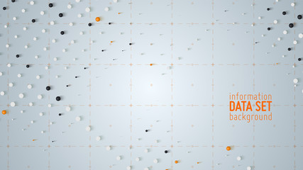 Vector abstract data sorting visualization background. Big data. Sorted data as tiny spheres. Information analytics concept. Filtering machine algorithms. Vector technology background. Trendy cover.