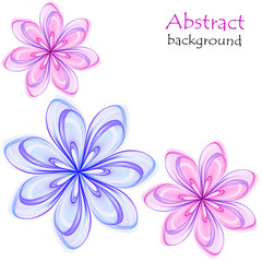Abstract multicolored flowers on a white background