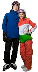 Male and female skiers together