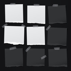 Black, white note, notebook paper pieces with torn edges stuck with sticky tape on black backgroud. Vector illustration.