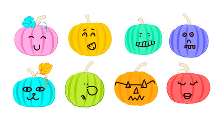 Collection of funny Halloween pumpkins. Vector cartoon pumpkins