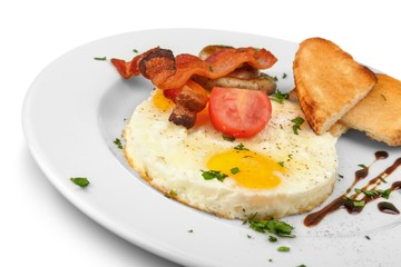 Fried eggs and toasts - excellent breakfast