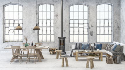 Cozy dining and living room scene in old warehouse