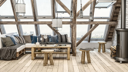Rustic attic loft with large windows