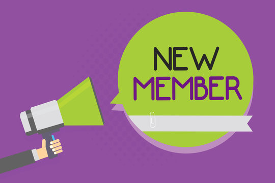 Text sign showing New Member. Conceptual photo recruiting employee to company or team Birth of fresh child Man holding megaphone loudspeaker green speech bubble purple background.