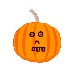 Funny cartoon pumpkin with a skull face. Vector