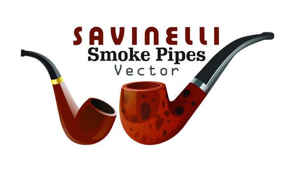 Realistic Smoke Pipes, Vector Illustration