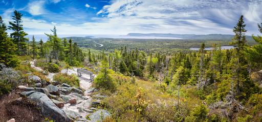 Panoramic image of Broad Cove Mountain in Cape Breton National Park, Nova Scotia, Canada