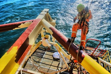 Canvas Prints Ship Rope Access Offshore Painting