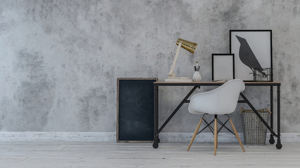 Desk and chair with crow painting on wall