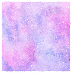 Winter watercolor abstract square background with falling snow splash texture. Christmas, New Year hand drawn template with rough edges. Snowflakes, lilac, violet and pink watercolour stains.